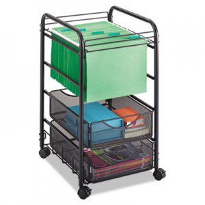 Safco Onyx Mesh Open Mobile File, Two-Drawers, 15-3/4w x 17d x 27h, Black SAF5215BL 5215BL