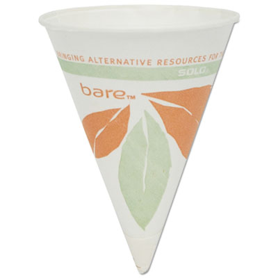 Dart Bare Eco-Forward Paper Cone Water Cups, 4oz, White, 200/Pack, 25 Packs/Carton SCC4BRBB 4BR-J8614