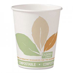 Dart Bare by Solo Eco-Forward PLA Paper Hot Cups, 10oz, Leaf Design,50/Bag,20 Bags/Ct SCC370PLAJ7234 370PLA