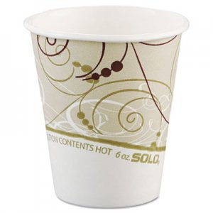 Dart Paper Hot Cups in Symphony Design, Polylined, 6oz, Beige/White, 1000/Carton SCC376SMSYM 376SM-J8000