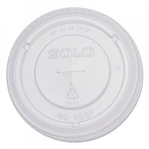 Dart PETE Flat Straw-Slot Cold Cup Lids, 16oz Cups, Clear, 100/Pack, 10 Packs/Carton SCC668TS 668TS