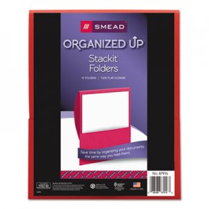 Smead Organized Up Stackit Folder, Textured Stock, 11 x 8 1/2, Red, 10/Pack SMD87916 87916