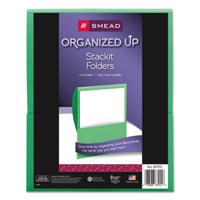Smead Organized Up Stackit Folder, Textured Stock, 11 x 8 1/2, Green, 10/Pack SMD87915 87915