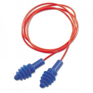 Howard Leight by Honeywell DPAS-30R AirSoft Multiple-Use Earplugs, 27NRR, Red Polycord, Blue, 100/Box UVXDPAS30R DPAS-30R