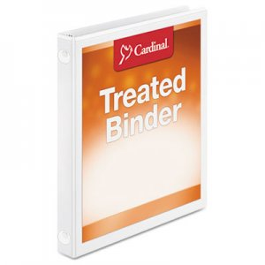 "Cardinal Treated Binder ClearVue Locking Round Ring Binder, 5/8"" Cap, 11 x 8 1/2, White CRD32250 32250"