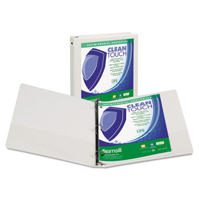 "Samsill Clean Touch Round Ring View Binder, Antimicrobial, 1"", White SAM17237 17237"