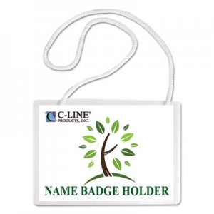 C-Line Specialty Name Badge Holder Kits, 4 x 3, White, 50/Box CLI97043 97043