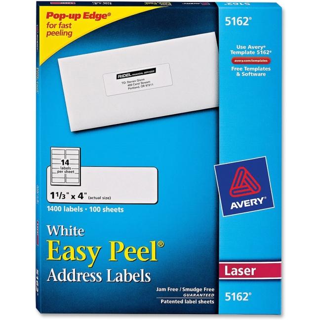 avery easy peel address label 5162