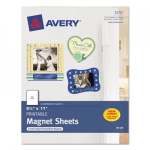 Avery Printable Inkjet Magnet Sheets, 8 1/2 x 11, White, 5/Pack AVE3270 3270