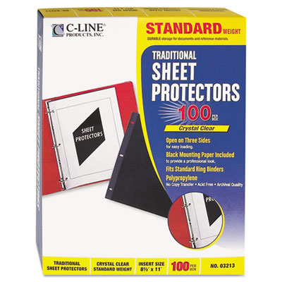 C-Line Traditional Polypropylene Sheet Protector, Standard Weight, 11 x 8 1/2, 100/BX 03213 CLI03213
