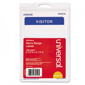 "Universal ""Visitor"" Self-Adhesive Name Badges, 3 1/2 x 2 1/4, White/Blue, 100/Pack UNV39110 92245"