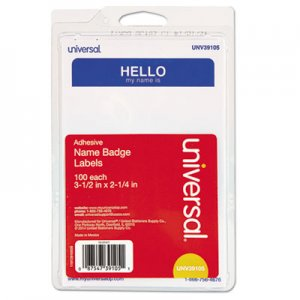 "Universal ""Hello"" Self-Adhesive Name Badges, 3 1/2 x 2 1/4, White/Blue, 100/Pack UNV39105 92235"