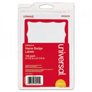 Genpak Border-Style Self-Adhesive Name Badges, 3 1/2 x 2 1/4, White/Red, 100/Pack UNV39115