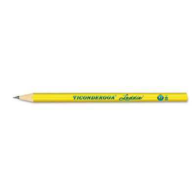 Ticonderoga Laddie Tri-Write Graphite Pencil with Microban features 11/32 in Dia to comfortably fit intermediate sized hands. Number 2 pencil in triangular shape helps students with proper finger placement while keeping pencil from turning in the hand and providing a more relaxed, comfortable grip.