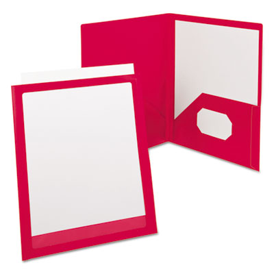 Oxford ViewFolio Polypropylene Portfolio, 50-Sheet Capacity, Red/Clear OXF57443 57443EE