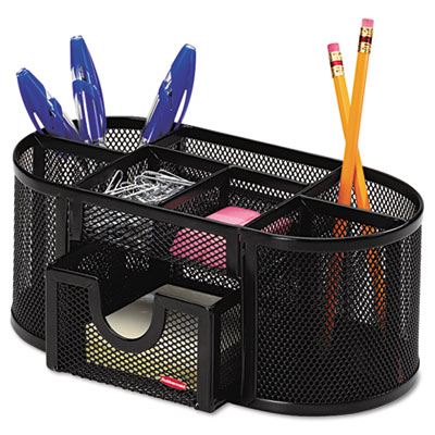 Mesh pencil cup organizer four compartments steel 9 1 3 - Desk organization accessories ...