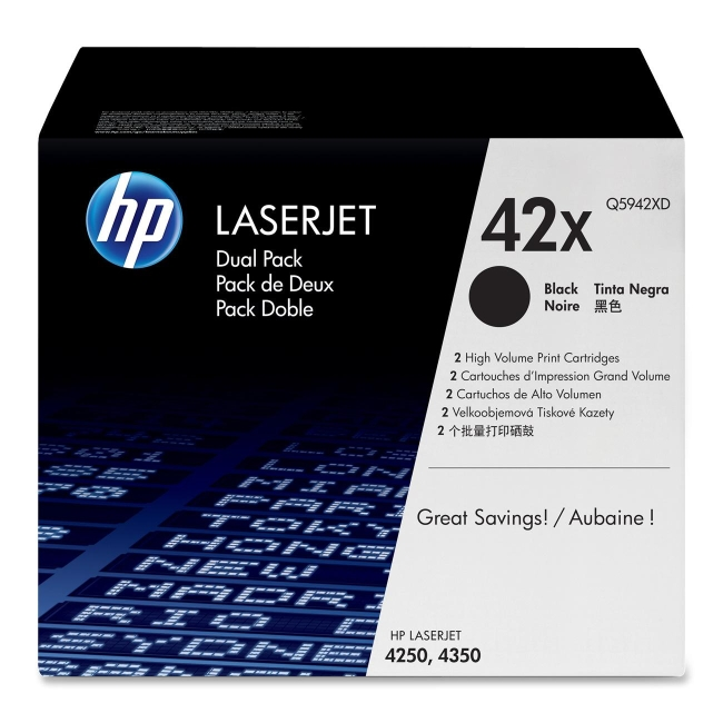 HP 42X (Q59) 2-pack High Yield Black Original LaserJet Toner Cartridges Q5942XD 42XD