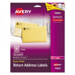Avery Clear Easy Peel Return Address Labels, Laser, 2/3 x 1 3/4, 600/Pack AVE15695 15695