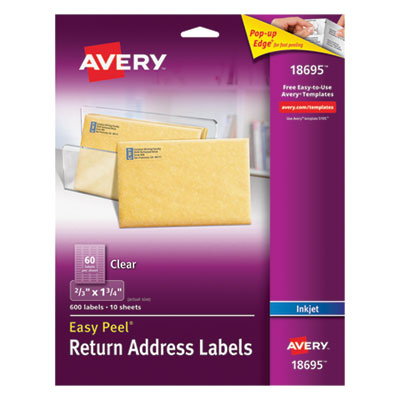 Avery Matte Clear Easy Peel Return Address Labels, Inkjet, 2/3 x 1 3/4, 600/Pack AVE18695 18695
