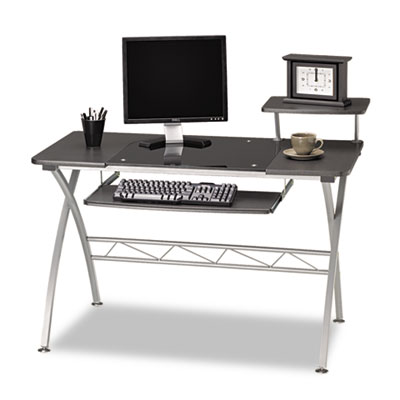 Mayline Eastwinds Vision Computer Desk, 47-1/4w x 27d x 34h, Anthracite with Black Glass MLN972ANT 972ANT