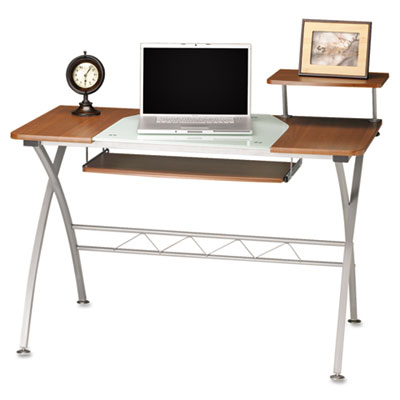 Mayline Eastwinds Vision Computer Desk, 47-1/4w x 27d x 34h, Med Cherry with White Glass MLN972MEC 972MEC