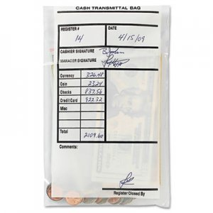 MMF Industries Cash Transmittal Bags, Self-Sealing, 6 x 9, Clear, 500 Bags/Box MMF236006920 236006920