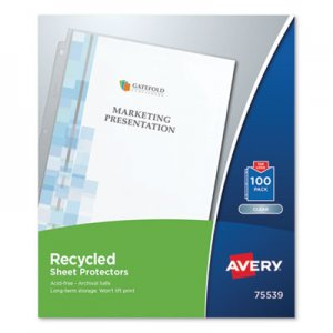 Avery Top-Load Recycled Polypropylene Sheet Protector, Clear, 100/Box AVE75539 75539