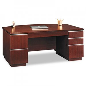 "Bush 72""W Bow Front Double Pedestal Desk (Box 2 of 2) Milano 2, Harvest Cherry BSH50DBF72A2CS 50DBF72A2CS"