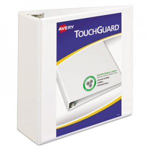 "Avery Touchguard Antimicrobial View Binder w/Slant Rings, 4"" Cap, White AVE17145 17145"