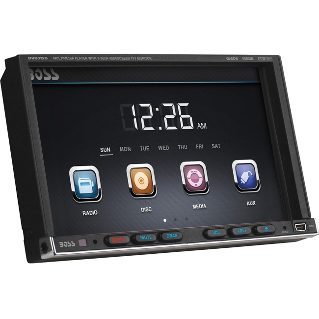 "Boss Audio In-Dash Double-DIN 7"" Motorized Touchscreen Monitor DVD Player BV9755"