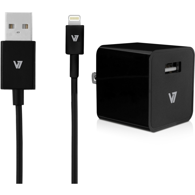 V7 12W USB Wall Charger with Lightning Cable AC30024ACLT-BLK-2N AC30024ACLT
