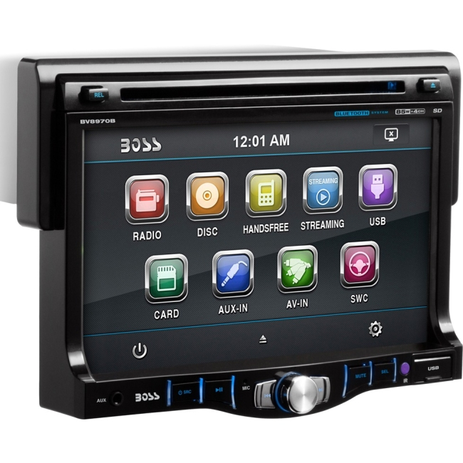 "Boss Audio Single Din 7"" Drop Down Touchscreen Monitor, Bluetooth-Enabled/Audio BV8970B"