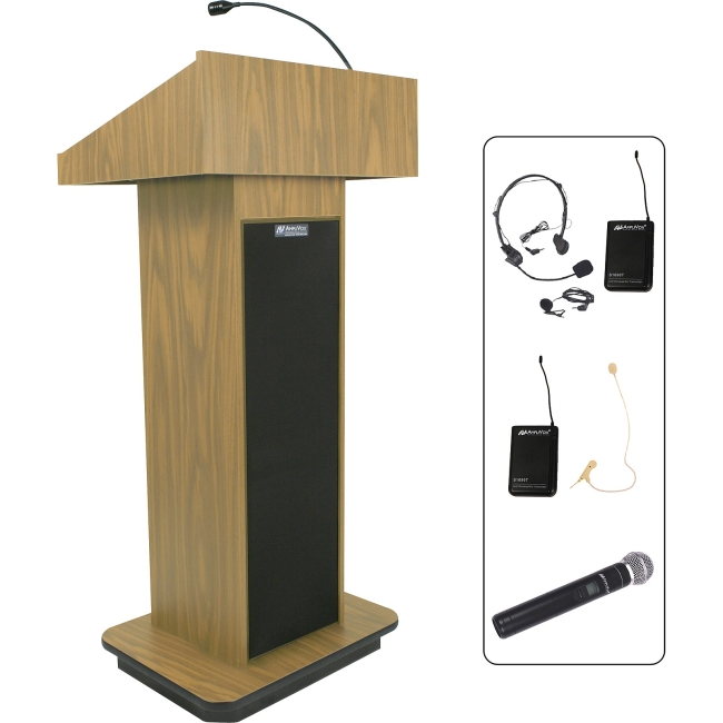 AmpliVox Wireless Executive Sound Column Lectern SW505-OK SW505