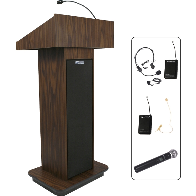 AmpliVox Wireless Executive Sound Column Lectern SW505-WT SW505