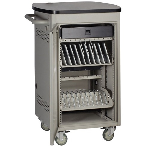Black Box 20 Device iPad and Tablet Cart - Single Frame and Sliding Door UCCSS20T