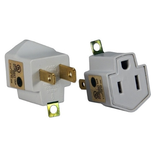 QVS 2-Pack 3-Prong to 2-Prong Power Adaptor PA-2PK