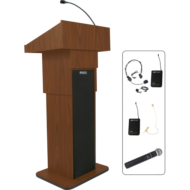 AmpliVox Wireless Executive Adjustable Column Lectern SW505AMH SW505A