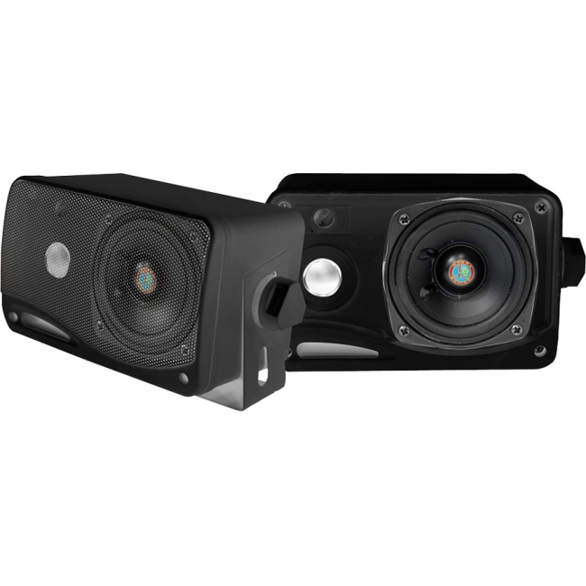 Pyle 3.5'' 200 Watt 3-Way Weather Proof Mini Box Speaker System (Black) PLMR24B