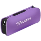 Aluratek 2600 mAh Portable Battery Charger with LED Flashlight - Purple APBL01FV