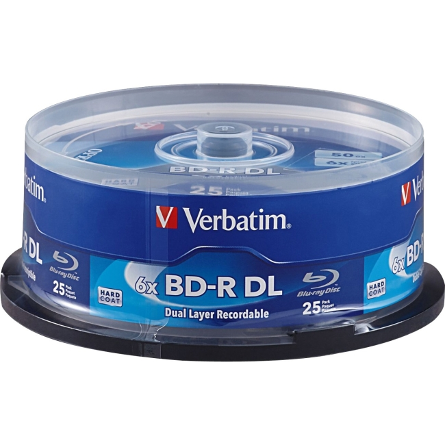 Verbatim BD-R DL 50GB 6X with Branded Surface - 25pk Spindle 98356