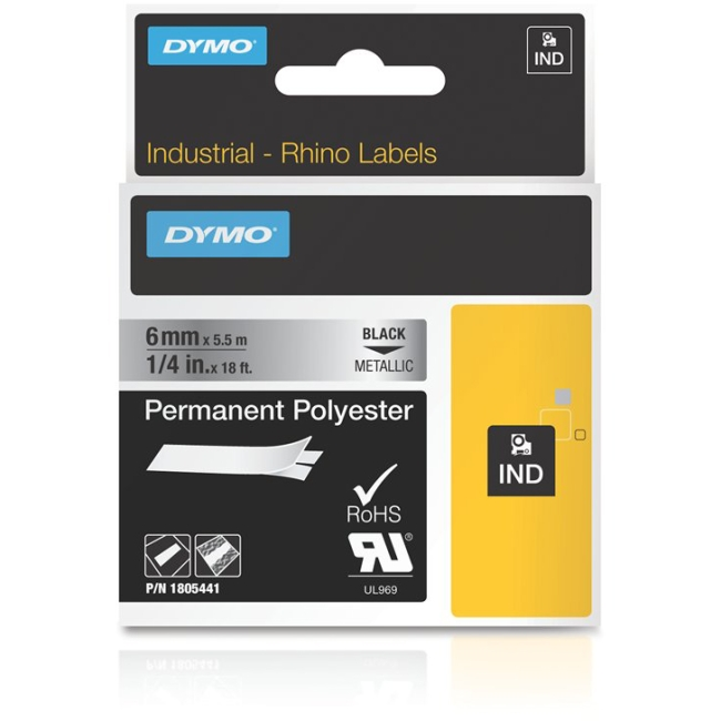 "Dymo 1/4"" Permanent Polyester Tape for Industrial Purposes 1805441"