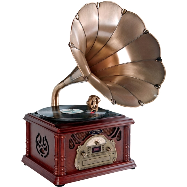 PyleHome Classical Trumpet Horn Turntable/Phonograph with AM/FM Radio CD/Cassette/USB & Direct to USB Recording PTCDCS3UIP