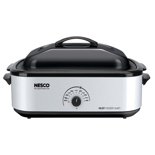Nesco 18 Qt Roaster, Porcelain Cookwell - Silver Body 4818-47