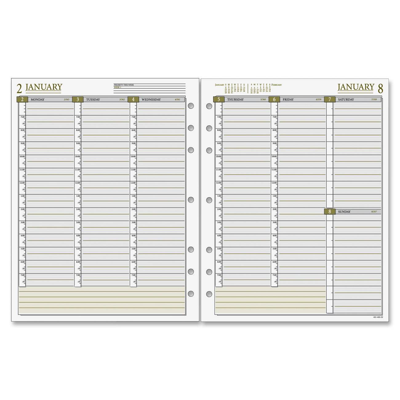 Weekly Calendar Refills : Printer