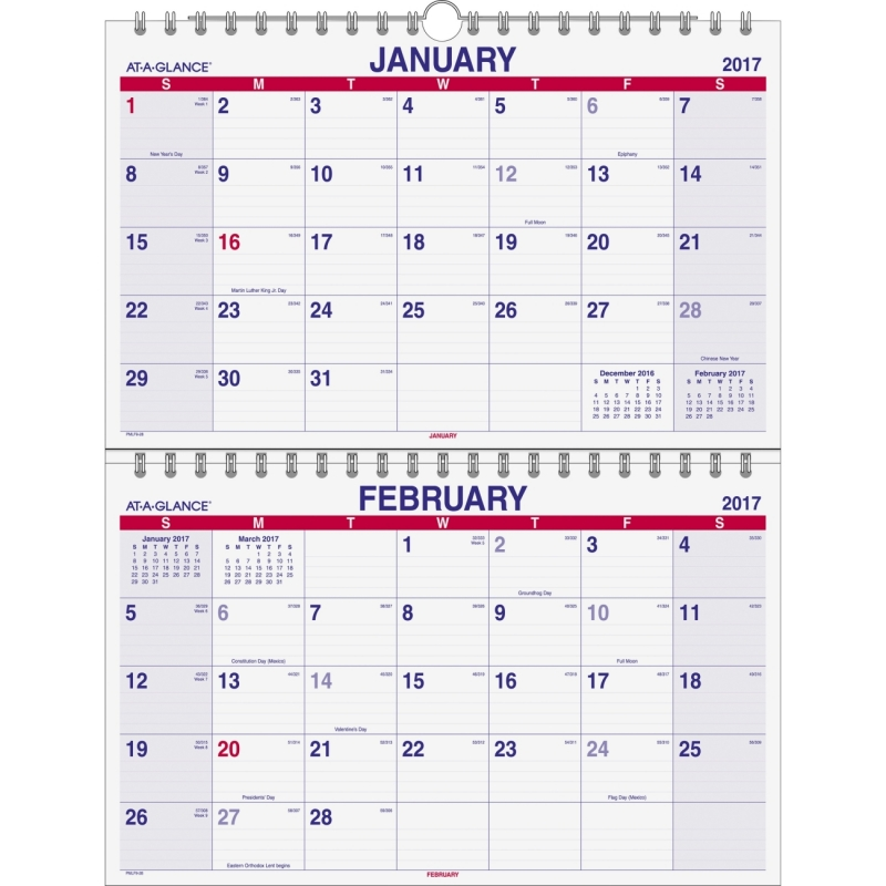 At-A-Glance 2-Month View Vertical Wall Calendar PMLF928 AAGPMLF928
