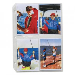C-Line Clear Photo Pages for 8, 3-1/2 x 5 Photos, 3-Hole Punched, 11-1/4 x