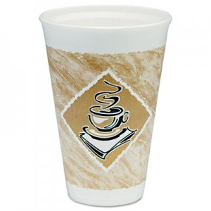 Dart Cafe G Hot/Cold Cups, Foam, 16 oz, White/Brown with Green Accents, 25/Pack DCC16X16GPK 16X16GPK