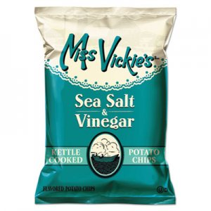 Miss Vickie's Kettle Cooked Sea Salt & Vinegar Potato Chips, 1.375 oz Bag, 64/Carton LAY44446 44446