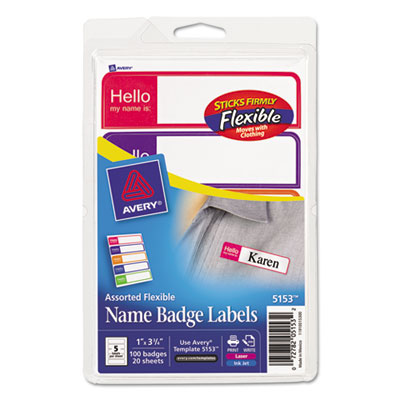 Avery Flexible Self-Adhesive Mini Badge Labels, 1 x 3 3/4, Hello, Bright Asst, 100/PK AVE5153 5153