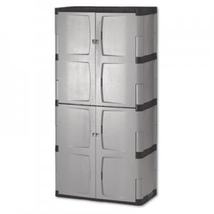 Rubbermaid Double-Door Storage Cabinet - Base/Top, 36w x 18d x 72h, Gray/Black RUB7083 7083